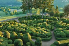 In the Périgord region of France, Marqueyssac. a dreamy topiary garden on a hill high above the Dordogne River. This looks unreal and beautiful.