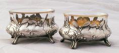 Mistletoe! Pair Antique Art Nouveau French Silver (950) Vermeil Salt Cellars