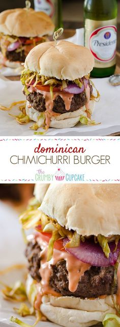 I will use ground turkey.A saucy, simply seasoned burger, topped with sauteed cabbage, tomato and onion, the Chimichurri Burger is Dominican street food at its finest! Gourmet Burgers, Burger Recipes, Beef Recipes, Cooking Recipes, Cuban Recipes, Recipes Dinner, Potato Recipes, Pasta Recipes, Soup Recipes