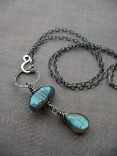 High quality labradorite & sterling silver front clasp necklace by Brenda McGowan.