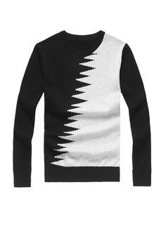 LANWO 2013 sweter męski dekolt okrągły czarno-biały
