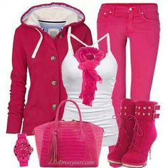 Hot pink outfit minus the boots Dress Up Outfits, Pink Outfits, Chic Outfits, Fashion Outfits, Heels Outfits, Jean Outfits, Pink Fashion, Cute Fashion, Womens Fashion