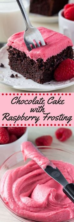 This homemade chocolate cake with raspberry frosting is perfect for Valentine's Day or any day, really! The soft, moist & super fudgy chocolate cake is to die for and the sweet, tart frosting makes this the perfect sweet treat to share with friends and loved ones.