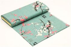 teal Alexander Henry Japanese flower fabric with gold 3