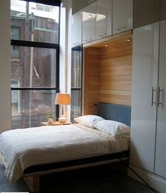 Wall Bed Murphy Bed like the idea of timber lining for the recess and white gloss doors