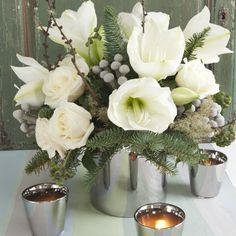amaryllis and rose arrangement in white and silver jane wadham flowers winter flower arrangements - White Christmas Flower Decorations
