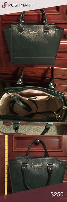 Forest Green Kate Spade Purse (Small) Cute purse dark green, comes with shoulder strap inside. (Shown in pictures) NWT, never worn or used! Open to offers Kate Spade Bags Mini Bags