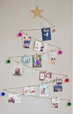 If you have a blank wall and lots of lovely cards, try this DIY Christmas Tree Holiday Card Display. There are a lot of Christmas card display ideas, but this one is the best. Christmas Card Display, Christmas Card Holders, Christmas Tree Cards, Holiday Fun, Christmas Holidays, Christmas Decorations, Simple Christmas, Handmade Christmas, Christmas Lights