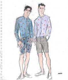 Gilbert & Lewis illustrated by Richard Haines Mens Fashion Wear, Fashion Art, Male Fashion, Costume Design Sketch, Fashion Maker, Fashion Figures, Sketchbook Inspiration, Fashion Design Sketches, Life Drawing