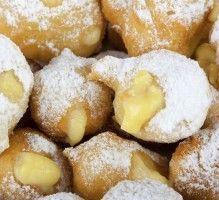 LES CASTGAGNOELS (Pour 6 P : 1/2 c à c de levure, 60 g de beurre, 1 citron, 3 œufs, 80 g de sucre, 370 g de farine) (CREME : 20 g de beurre, 40 g de maïzena, 1 gousse de vanille, 4 œufs, 50 cl de lait)