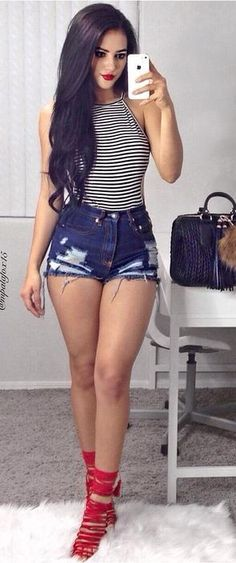Fourth of July Outfit - Stripes + Denim Rips + Pop Of Red @roressclothes closet ideas #women fashion outfit #clothing style apparel