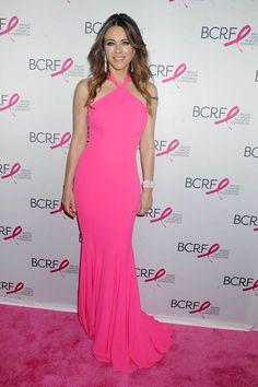 Elizabeth Hurley Hot Pink Halter Mermaid Evening Prom Dress 2016 Breast Cancer