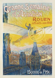 Grande semaine d'aviation de Rouen - 1910 - illustration de Charles Rambert -