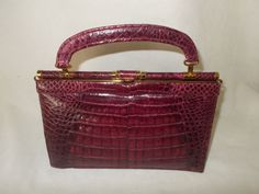 Stunning vintage rare pink crocodile 3 way handbag by VintageHandbagDreams on Etsy