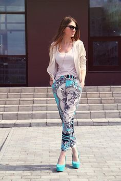 Shop this look on Kaleidoscope (top, jacket, pants, sunglasses, shoes)  http://kalei.do/W2NrQy4nzR2Ni50p