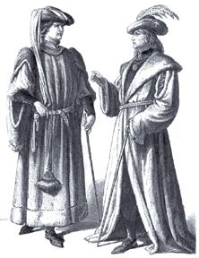 Men often wore doublets and houppelandes. Clothing hung on the wearer and was layered. They also used a hose and pedules or shoes. Headdress was also important. Men wore headdresses (almost resemble tires) called a roundlet and carried pouches for alms. By the later Gothic period, doublets are shorter and the hose are shewn. Hair was cut short like a bob-cut and was left jaw length.