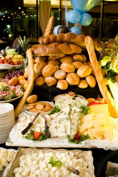Cheese spread with an array of bread