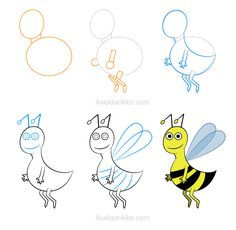 How to draw a bee - Comment dessiner une abeille