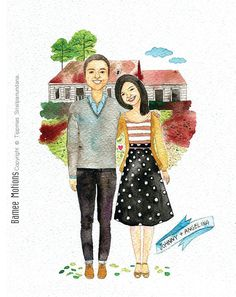 An original watercolor couple portrait and nice by BameeMotions