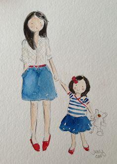 Custom mother & daughter illo. Jennifer Vallez.
