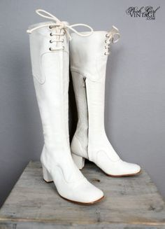 These boots are made for walking and that's just what they'll do...1960's White Leather Go Go Boots
