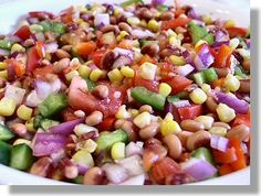 Texas Caviar (Black-eyed Pea Salsa or Salad); I have eaten this 2 different ways at meal time. 1. on a bed of greens and 2. in an Ezekial Bread wrap. Fantastic flavor!