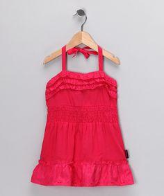 Coral Ruffle Halter Dress - Girls