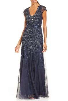 4a520e5126cfa Adrianna Papell Blue Cap-Sleeve Embellished Gown Godmother Dress, Ombre  Gown, Heavy Dresses