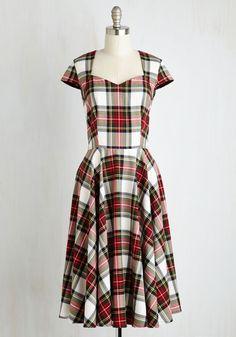 Dean's List Diva Dress in Cardinal Plaid | Mod Retro Vintage Dresses | ModCloth