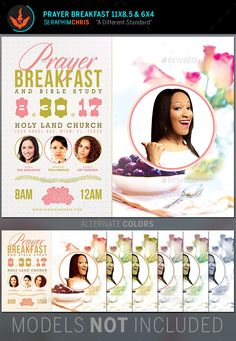 Prayer Breakfast Church Flyer Template — Photoshop PSD #leadership #bible study • Available here → https://graphicriver.net/item/prayer-breakfast-church-flyer-template/11225012?ref=pxcr