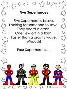 Five superheroes rhyme