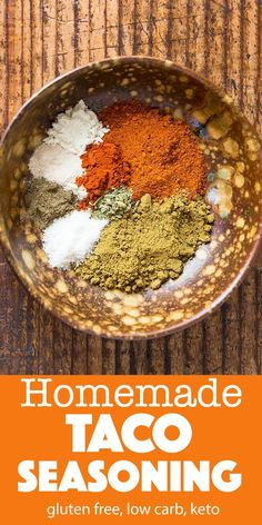 Make your own homemade gluten free taco seasoning! You save a lot compared to store-bought taco seasoning packets and on top of that you get to avoid the fillers and preservatives. Most likely you already have all of the taco mix ingredients in your spice Gluten Free Taco Seasoning, Homemade Taco Seasoning Mix, Mexican Seasoning, Taco Seasoning Packet, Homemade Seasonings, Homemade Tacos, Seasoning Mixes, Taco Seasoning Recipes, Chili Seasoning