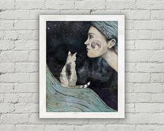Whimsical Illustration-Cat Art Mixed Media Collage  Night
