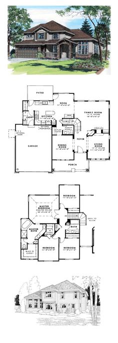 Bungalow House Plan 24264 | Total Living Area: 2411 sq. ft., 4 bedrooms and 2.5 bathrooms. The gourmet kitchen provides the added work space of a convenient island. The master bedroom adds interest with a vaulted ceiling. #houseplan #bungalow