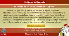 """MISIONEROS DE LA PALABRA DIVINA: MEDITACIÓN DEL EVANGELIO - """"La unidad de los Doce,..."""