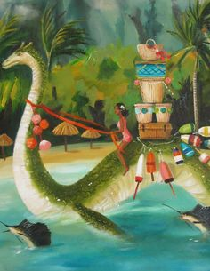 Details:  Title: South Seas Serpent  14x18 original oil painting.  Painted on stretched canvas with painted sides.