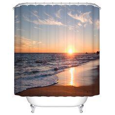 Sea Sunset Print Mildewproof Waterproof Bathroom Curtain - COLORMIX 180CM*180CM