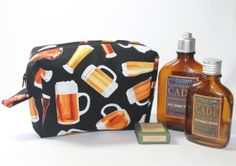 Washbag toiletries bag beer fabric beer by Enchantingcrafts, £14.00