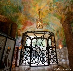 Front Door of Gaudi's La Pedrera/ Casa Mila, Barcelona, Spain, Art Nouveau Architecture, Amazing Architecture, Art And Architecture, La Pedrera, Hotel W, Antonio Gaudi, Photography Photos, Stairways, Pergola