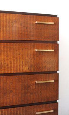 Art Moderne gentleman's dresser by Donald Deskey. Four drawers with modernist bronze pulls.