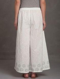Buy Ivory-White-Grey Block Printed Tie-Up Waist Cotton Palazzos Online at Jaypore.com