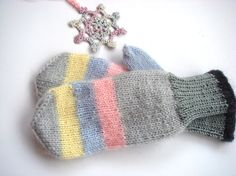 Pastel Mittens knit women mittens Warm gloves, Gray mittens. via Etsy