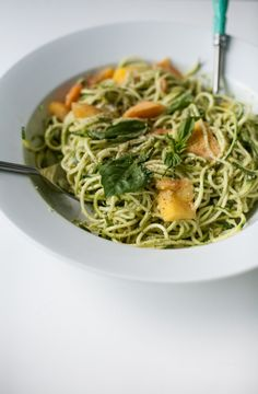 The Vibrant Table's Zucchini Spaghetti with Peaches and Pumpkin Seed Pesto