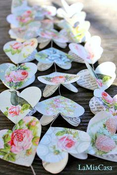 Flower Garland, Romantic Wedding, Spring Wedding, Heart Garland, Paper  Garland, Rustic Wedding, Bridal Shower, Light Blue, Summer Wedding