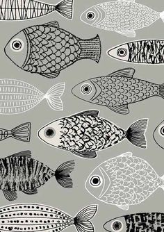 Grey Forest limited edition giclee print , fish design, by EloiseRenouf on Etsy Fish Patterns, Textures Patterns, Print Patterns, Illustration Art, Illustrations, Lovely Creatures, Fish Design, Fish Art, Giclee Print