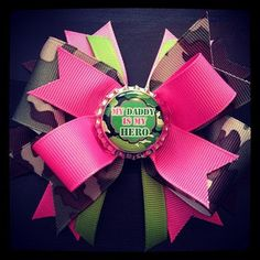 ARMY or MARINE Hair Bow  Boutique Style  Army or by BowSoCute17