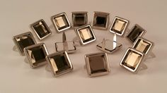 """11061-I11 3//8/"""" Clear Acrylic 2 Prong Rhinestones with Square Nickel Setting"""