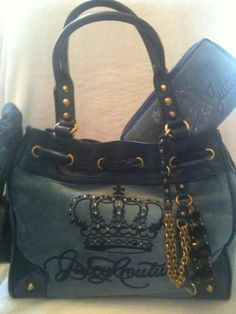 "JUICY!! JUICY!! *RARE!* COUTURE CROWN QUEEN 'BLING"" DAYDREAMER SHOULDER BAG TOTE! BLUE (LAGOON) OMG!"