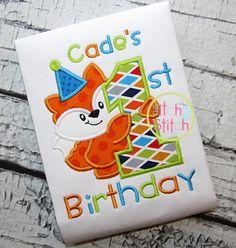First Birthday Fox Applique