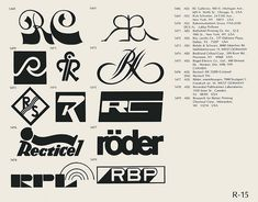 R-15  Collection of vintage logos from a mid-70's edition of the book World of Logotypes.